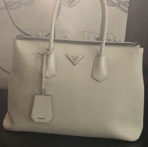 Prada galleria bag - white with locks on top